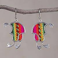 Sterling silver and wool blend dangle earrings, 'Andean Chullo' - 925 Silver and Wool Blend Chullo Hat Earrings from Peru