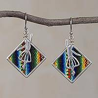 Sterling silver and wool blend dangle earrings, 'Dance of the Andes' - Sterling Silver and Wool Blend Dancer Earrings from Peru