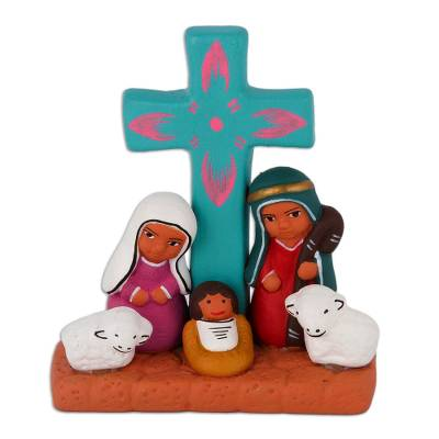 Hand-Painted Nativity Scene Decorative Accent from Peru