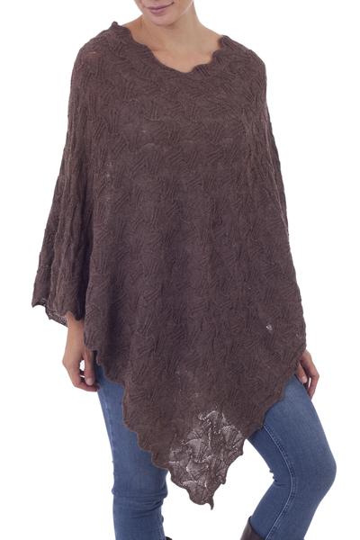 Soft Brown 100% Baby Alpaca Pointelle Knit Poncho