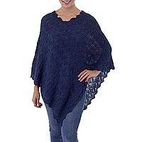 100% baby alpaca poncho, 'Scalloped Prussian Blue' - Pointelle Knit Blue 100% Baby Alpaca Women's Poncho