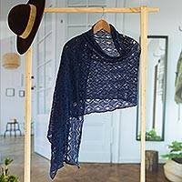 100% alpaca shawl, 'Breezy Skies in Blue' - 100% Alpaca Crocheted Shawl in Blue from Peru