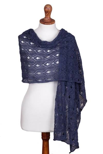 100% alpaca shawl, 'Breezy Skies in Denim' - 100% Alpaca Crocheted Shawl in Denim from Peru