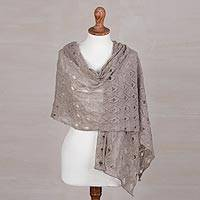 100% baby alpaca shawl, 'Breezy Skies in Taupe' - 100% Baby Alpaca Knit Shawl in Taupe from Peru