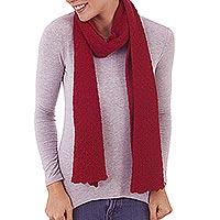 100% baby alpaca scarf, 'Solid Style in Crimson'