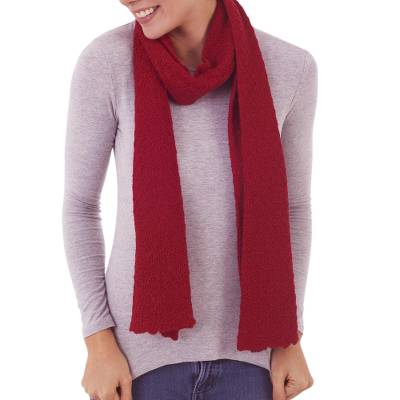 100% baby alpaca scarf, 'Solid Style in Crimson' - 100% Baby Alpaca Wrap Scarf in Solid Crimson from Peru