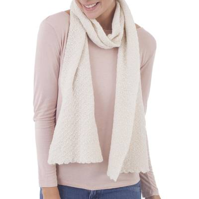 100% baby alpaca scarf, 'Solid Style in Eggshell' - 100% Baby Alpaca Wrap Scarf in Solid Eggshell from Peru