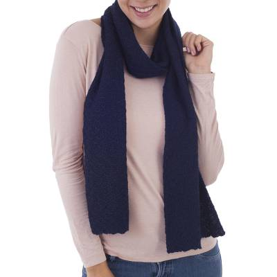 100% baby alpaca scarf, 'Solid Style in Navy' - 100% Baby Alpaca Wrap Scarf in Solid Navy Blue from Peru