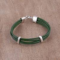 Leather wristband bracelet, 'Enchanted Valley' - Green Leather and Silver Wristband Bracelet from Bali