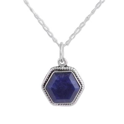 Blue Sodalite Hexagon Pendant Necklace from Peru