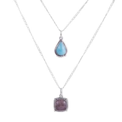 Rhodochrosite and Amazonite Pendant Necklace from Peru