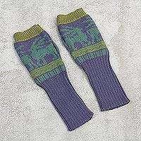 Alpaca blend fingerless gloves, 'Inca Landscape' - Knit Alpaca Blend Fingerless Gloves in Iris from Peru