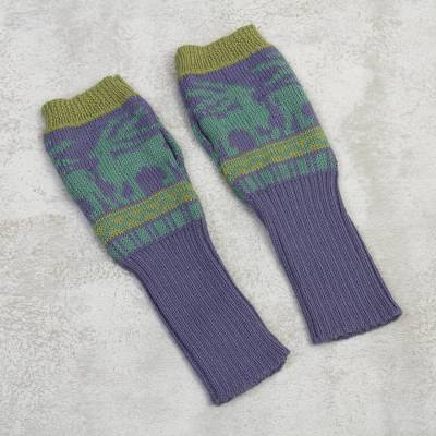 Alpaca blend fingerless mitts, 'Inca Landscape' - Knit Alpaca Blend Fingerless Gloves in Iris from Peru