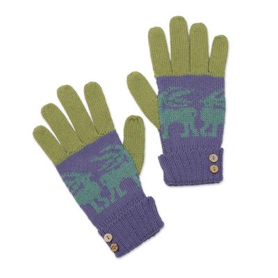 Alpaca blend gloves, 'Inca Landscape' - Knit Alpaca Blend Gloves in Iris from Peru