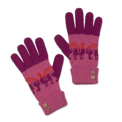 Alpaca blend gloves, 'Alpaca Rainbow' - Knit Alpaca Blend Gloves in Rose and Magenta from Peru