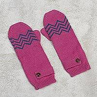 Alpaca blend mittens, 'Zigzag Warmth in Delft Blue' - Alpaca Blend Mittens in Rose and Delft Blue from Peru
