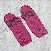 Alpaca blend mittens, 'Zigzag Warmth in Lead Grey' - Alpaca Blend Mittens in Rose and Lead Grey from Peru