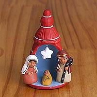 Ceramic nativity figurine, 'Birth Below the Star in Red' - Hand-Painted Ceramic Nativity Figurine in Red from Peru