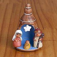 Ceramic nativity figurine, 'Birth Below the Star in Brown' - Hand-Painted Ceramic Nativity Figurine in Brown from Peru