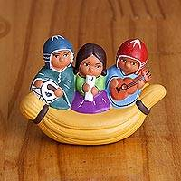 Ceramic decorative accent, 'Musicians in a Canoe' - Ceramic Decorative Accent of Musicians in a Canoe from Peru