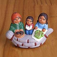 Ceramic figurine, 'Happy Canoe' - Ceramic Figurine of an Andean Family in a Canoe