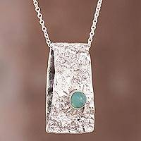 Opal pendant necklace, 'Imperial Grandeur' - Green Opal and Sterling Silver Pendant Necklace from Peru