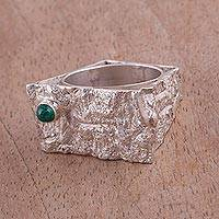 Chrysocolla band ring, 'Imperial Citadel' - Sterling Silver and Chrysocolla Band Ring from Peru