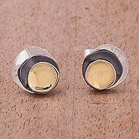 Gold accent sterling silver stud earrings, 'Modern Eclipse' - Gold Accent Sterling Silver Modern Stud Earrings from Peru