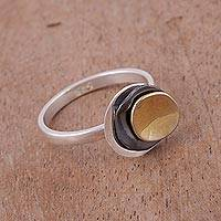 Gold accent sterling silver cocktail ring, 'Modern Eclipse' - Gold Accent Sterling Silver Modern Cocktail Ring from Peru