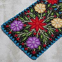 Wool table runner, 'Flower Palace' - Black and Multicolored Short Wool Table Runner