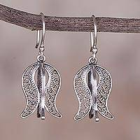 Sterling silver filigree dangle earrings, 'Colonial Waves' - Sterling Silver Filigree Dangle Earrings from Peru
