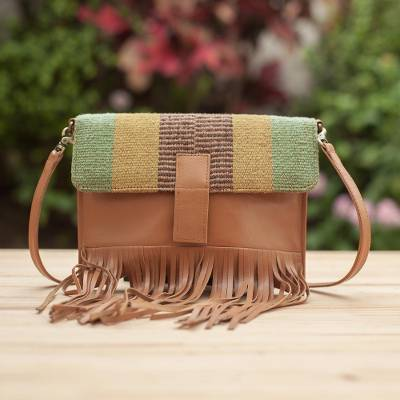 Wool accent leather shoulder bag, Earthen Muse