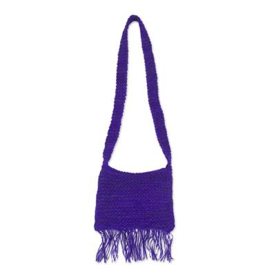 Deep Purple Hand Knit Jute Shoulder Bag from Peru