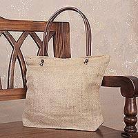 Jute tote bag, 'Au Naturale' - Fully Lined Natural Woven Jute Tote Bag