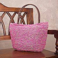 Jute shoulder bag, 'Sweet Fuchsia' - Fuchsia and Ecru Hand Knit Jute Shoulder Tote Bag