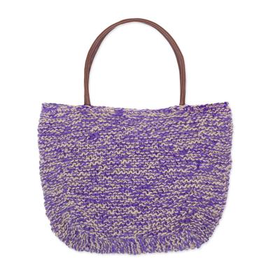 Hand Knit Jute Shoulder Bag in Purple and Ecru