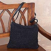 Jute sling bag, 'Dark of Night' - Black Jute Sling Shoulder Bag with Adjustable Strap
