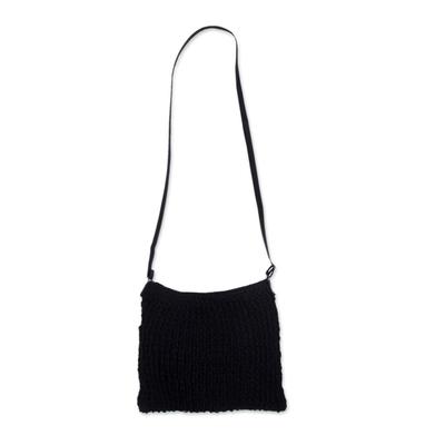 Black Jute Sling Shoulder Bag with Adjustable Strap