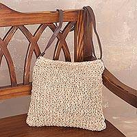 Jute sling bag, 'Light of Day' - Ecru Hand-Knit Jute Sling Bag Handmade in Peru