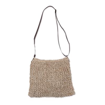 Ecru Hand-Knit Jute Sling Bag Handmade in Peru