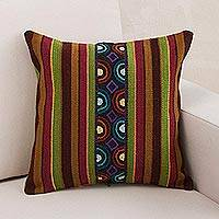 Wool cushion cover, 'Andean Illusion' - Handwoven Striped Wool Cushion Cover from Peru