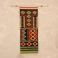 Wool wall hanging, 'Andean Diamonds' - Wool Wall Hanging with Geometric Patterns from Peru