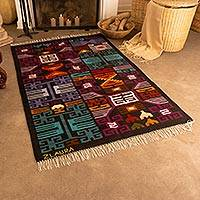 Wool area rug, 'Pre-Colombian Universe' (4x6) - Handwoven 4x6 Geometric Fringed Wool Area Rug from Peru