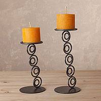 Steel candle holders, 'Infinite Fire' (pair) - Steel Candle Holders with Saffron Pillar Candles (Pair)