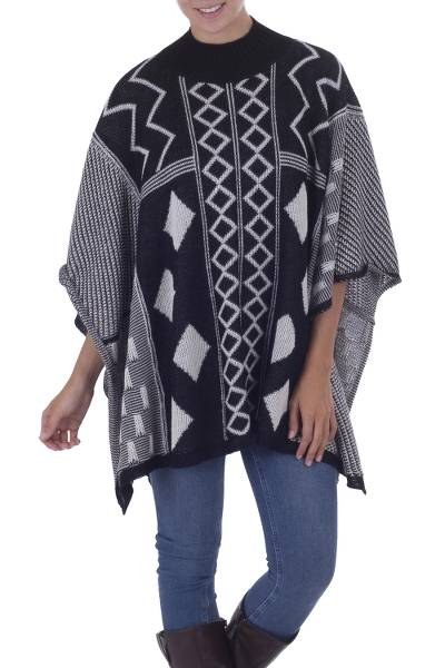 100% baby alpaca poncho, 'Hypnotize in Black' - Black and White Baby Alpaca Poncho with Geometric Pattern