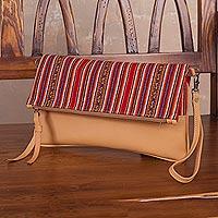 Sheepskin leather shoulder bag, 'Andean Walk' - Peruvian Sheepskin Bag with Zipper and Removable Strap