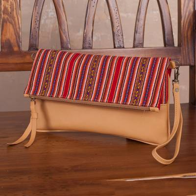 Sheepskin leather shoulder bag, 'Andean Walk' - Peruvian Sheepskin Bag with Zipper and Removable Strap