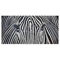 'White and Black II' (2017) - Large Zebra Fine Art Original Signed Oil Painting from Peru