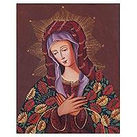 'Our Lady of Sorrows' - Signed Religious Painting of Mary from Peru