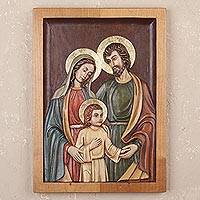 Cedar relief panel, 'Sacred Family of Jesus' - Handmade Cedar Relief Panel of the Sacred Family from Peru